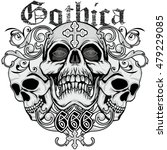 gothic coat of arms with skull  ... | Shutterstock .eps vector #479229085