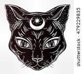 Stock vector black cat head portrait with moon ideal halloween background tattoo art egyptian spirituality 479229835