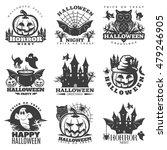 halloween black white emblems... | Shutterstock .eps vector #479246905