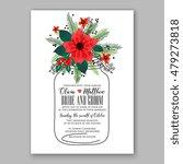 poinsettia wedding invitation...   Shutterstock .eps vector #479273818