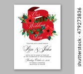 poinsettia wedding invitation... | Shutterstock .eps vector #479273836