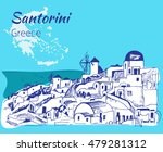 santorini outline sketch  ... | Shutterstock .eps vector #479281312