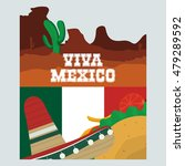 cactus taco and hat. mexico... | Shutterstock .eps vector #479289592