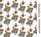 skul and hat. mexico landmark... | Shutterstock .eps vector #479290762