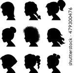 little girl profile silhouettes ... | Shutterstock .eps vector #479300476