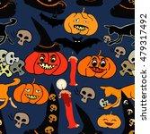 seamless pattern for halloween... | Shutterstock .eps vector #479317492