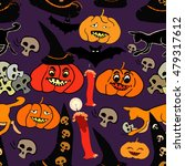 seamless pattern for halloween... | Shutterstock .eps vector #479317612