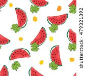 water melon hand drawn seamless ... | Shutterstock .eps vector #479321392