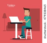 cartoon man and freelance design | Shutterstock .eps vector #479338465