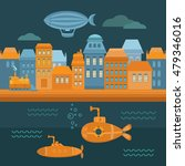 illustration steampunk city... | Shutterstock .eps vector #479346016