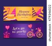 happy birthday banners...   Shutterstock .eps vector #479346022