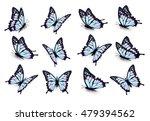 set of blue butterflies  flying ...