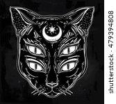 black cat head portrait with... | Shutterstock .eps vector #479394808