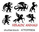 heraldic animals icons. griffin ... | Shutterstock .eps vector #479399806
