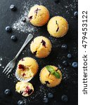 muffins with blueberries on a... | Shutterstock . vector #479453122