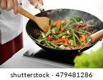 Mixing Vegetables In Pan Closeup