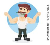 muscled guy holding rose flower ... | Shutterstock .eps vector #479487016
