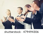 Small photo of Business people clapping their hands - congratulation and appreciation concepts, vintage tone effect
