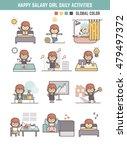 happy salary girl daily life ... | Shutterstock .eps vector #479497372