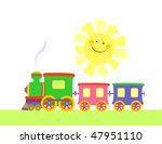 toy train riding over  landscape | Shutterstock .eps vector #47951110