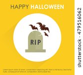 halloween grave icon with bats...   Shutterstock .eps vector #479516062