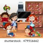 lots of children reading book... | Shutterstock .eps vector #479516662