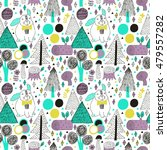 rabbit in forest seamless... | Shutterstock .eps vector #479557282