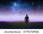 silhouette of man and stars sky.... | Shutterstock . vector #479570908