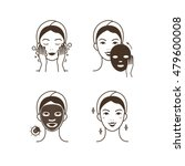 steps how to apply facial mask. ... | Shutterstock .eps vector #479600008