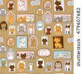 cute cats portraits seamless... | Shutterstock . vector #479607682