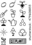 plant icon set flat line art | Shutterstock .eps vector #479608855