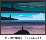 lighthouse on the rock with sea ... | Shutterstock .eps vector #479621155
