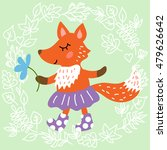 cute fox on leaves background... | Shutterstock .eps vector #479626642