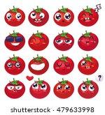 tomato set of funny smiles.... | Shutterstock .eps vector #479633998