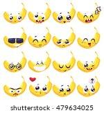 banana set of funny smiles.... | Shutterstock .eps vector #479634025