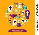 flat happy halloween concept....   Shutterstock .eps vector #479643496
