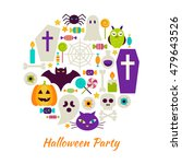 halloween party objects over... | Shutterstock .eps vector #479643526