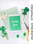 """lucky you"" message for saint... | Shutterstock . vector #479645362"