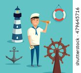 captain or sailor with spyglass ... | Shutterstock .eps vector #479645716