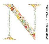 n letter with decorative floral ... | Shutterstock .eps vector #479656252
