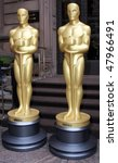 Small photo of NEW YORK - MARCH 4: Two 8-foot golden statues arrive at GILT at the New York Palace Hotel as part of the official New York Oscar night celebration on March 4, 2010 in New York City