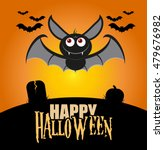 cute bat with fly on cemetery... | Shutterstock .eps vector #479676982