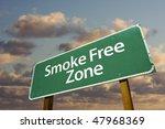 Smoke Free Zone Green Road Sig...