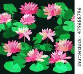 waterlily  watercolor seamless... | Shutterstock . vector #479688796
