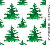 pine tree forest watercolor... | Shutterstock . vector #479689432
