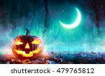 fiery pumpkin in a haunted... | Shutterstock . vector #479765812