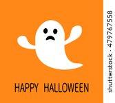 funny flying ghost. sad face.... | Shutterstock . vector #479767558
