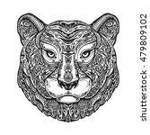 ethnic ornamented tiger  puma ... | Shutterstock .eps vector #479809102