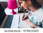 young woman study at home | Shutterstock . vector #479813305