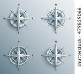 set of 3d wind roses in paper...   Shutterstock . vector #479839066